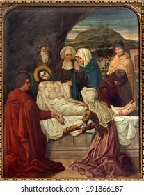 MECHELEN, BELGIUM - SEPTEMBER 4, 2013: Burial of Jesus. Cross way cycle from 19. cent. in Onze-Lieve-Vrouw-va n-Hanswijkbasiliek church.