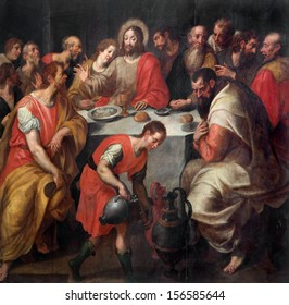 MECHELEN, BELGIUM - SEPTEMBER 6: Baroque paint of The Last supper of Christ in  St. Rumbold's cathedral on September 6, 2013 in Mechelen, Belgium.