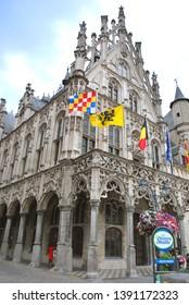Mechelen, Flanders, Belgium - July 16, 2018: The Mechelen City Hall in the historical city center in Mechelen