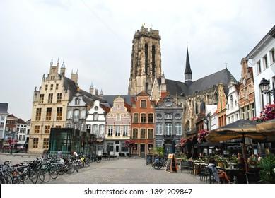 Mechelen, Flanders, Belgium - July 16, 2018: The St. Rumbold's Cathedral in the historical city center in Mechelen