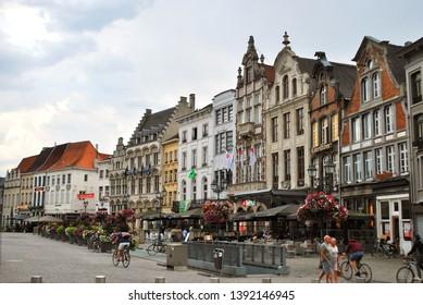 Mechelen, Flanders, Belgium - July 16, 2018: The historical city center in Mechelen
