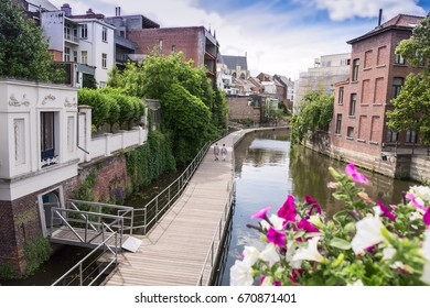 Mechelen the gangway on the canal and Dyle river, Flanders, Belgium