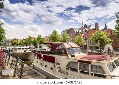 Mechelen promenade of Dyle river, Flanders, Belgium