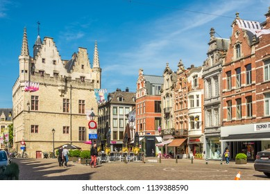 MECHELEN,BELGIUM - MAY 17,2018 - At the Grote Markt place in Mechelen. Mechelen is one of Flanders prominent cities of historical art.