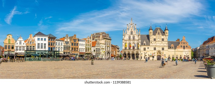 MECHELEN,BELGIUM - MAY 17,2018 - Panoramic view at the Grote Markt place with City hall in Mechelen. Mechelen is one of Flanders prominent cities of historical art.