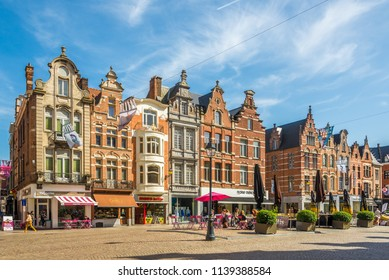 MECHELEN,BELGIUM - MAY 17,2018 - View at the buildings of Grote Markt place in Mechelen. Mechelen is one of Flanders prominent cities of historical art.