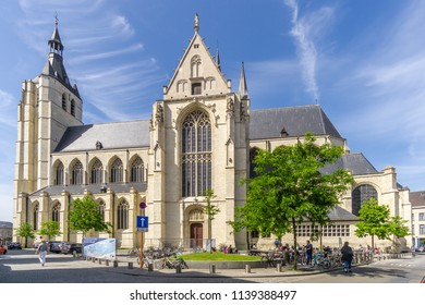 MECHELEN,BELGIUM - MAY 17,2018 - View at the church of Our Lady in Mechelen. Mechelen is one of Flanders prominent cities of historical art.