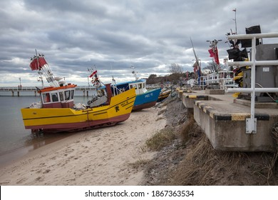 Mechelinki, Poland, February 26. Two small fishing boats on the beach