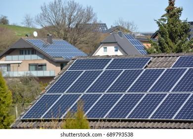 Mechernich, Germany - March 26, 2017 - Solar panels on roofs in german town