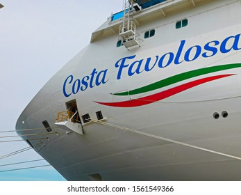 Warnemünde, Mecklenburg-Vorpommern / Germany - 09th August 2019: The bow of the Bug Costa Favolosa 2019