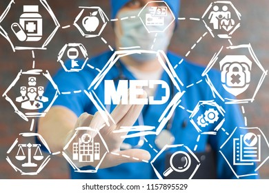 Med - Medicine concept. Healthcare. Doctor clicks a med with medical cross button on a virtual panel.