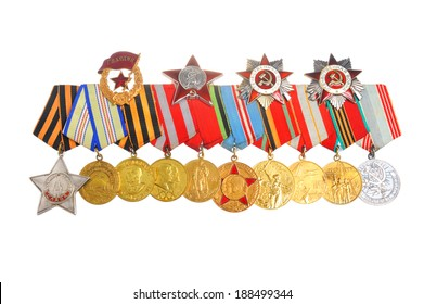 Medals and orders of Great Patriotic war isolated on white