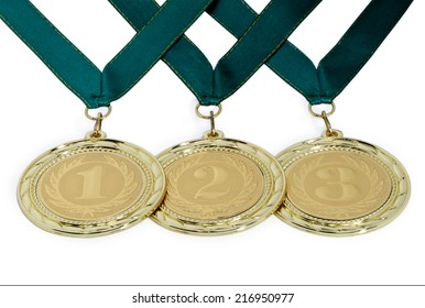 Medals with ribbons for winners of competitions isolated on a white background.