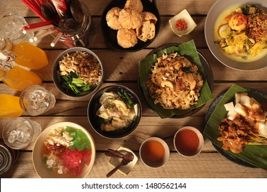 Medan Food Dinner. Assorted street food dishes popular in Medan, North Sumatra.