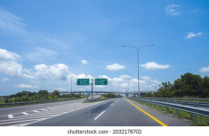 Medan, Indonesia, 08-12-2021: Medan - Tebing Tinggi toll road, an important infrastructure in North Sumatra, that connect the capital city with others regency in North Sumatra Province.