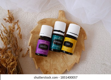 Medan, Indonesia - 5th November 2020: Young Living essential oils for aroma therapy diffuser with Lemon, Lavender, and Peppermint natural fragrance