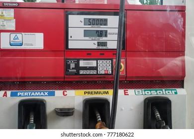 MEDAN, INDONESIA - December 15 2017 : Close up Pertamina petrol fueling machine in Medan Indonesia.