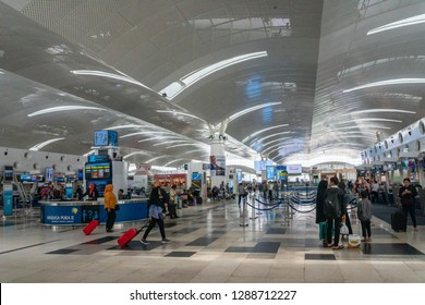 Medan, Indonesia - January 2019: Kualanamu international airport Departure terminal architecture in Medan, North Sumatra, Indonesia.   Kualanamu is the third largest airport in Indonesia.