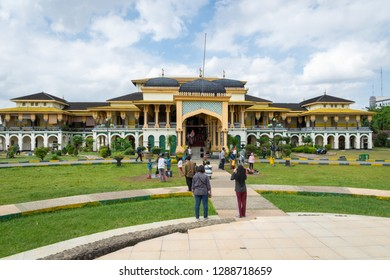 Medan, Indonesia - January 2019: Maimun Palace or Maimoon Palace in Medan, North Sumatra, Indonesia. Maimun is the royal palace of the Sultanate of Deli and a well-known landmark in Medan.