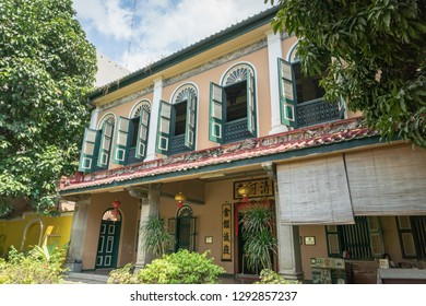 Medan, Indonesia - January 2019: Tjong A Fie Mansion entrance. The mansion is a two-story building in Medan, North Sumatra, built by Tjong A Fie and a popular tourist sight.