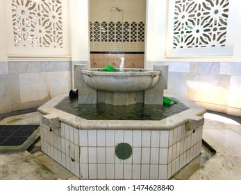 MEDAN, INDONESIA - JULY 14 2019: ablution place of the Great Mosque of Al Mashun is a mosque located in Medan, North Sumatra, Indonesia.