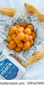 Medan, Indonesia - June 10th, 2021 - Focus on Bola Ubi Goreng, Sweet Potatoes