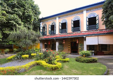 Medan, Indonesia - November 27, 2017: Tjong A Fie Mansion entrance. The mansion is a two-story building in Medan, North Sumatra, built by Tjong A Fie and a popular tourist sight