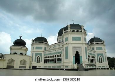 Medan, North Sumatera / Indonesia - May 20, 2007 : A beautiful landmark , Mesjid Raya Al-Mahsun. It shows the strong influence of Moslem culture in North Sumatera