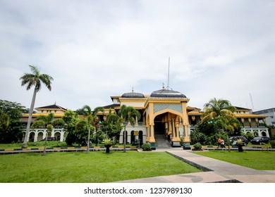 Medan, North Sumatera/Indonesia: 10th 06 2013: The Facade of Istana Maimun (Maimun Palace)