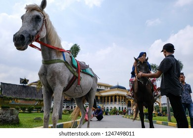 Medan, North Sumatera/Indonesia-November 2018: The people enjoy horse-riding at Istana Maimun (Maimun Palace). This palace,the heritage of Deli Sultanate, is a popular destination in Medan.