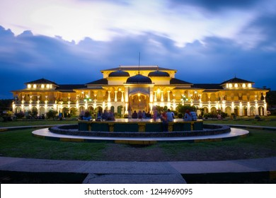 Medan, North Sumatera-November 2018: The view of Maimun Palace or Istana Maimun at dawn. This palace is the heritage of Royal Family of The Sultanate of Deli  in Medan.