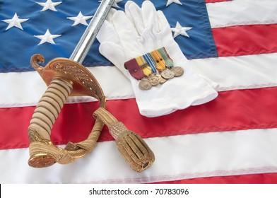 Medeals and uniform peices from World War II veteran