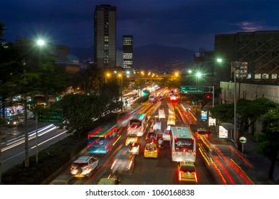 Medellin, Antioquia, Colombia. 02 - March - 2018. Night view of San Juan street in Medellín. This road is one of the most important in the city and daily thousands of cars travel through it