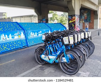 Medellin, Antioquia / Colombia - 08/02/2018: Encicla, urban public bicycles of Medellin, Colombia. Metro, bus and bicycle system. Sustainable, environmentally green and ecological mobility