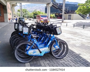 Medellin, Antioquia / Colombia - 08/02/2018: System of urban public bicycles of Medellin (Colombia), Encicla. Urban transport connected to metro and bus system. Sustainable and ecological mobility