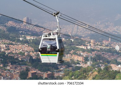 Medellin, Antioquia / Colombia - August 30, 2017. The new cable subway has a length of 1,402 meters, has 44 cabins and has 3 stations: Oriente, Torres and Sierra