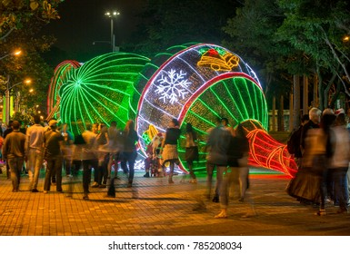 Medellin, Antioquia, Colombia - December 11, 2017. Christmas lighting in the sector of Carabobo and Parque Norte. This tourist attraction and Christmas tradition turns 50 in the city