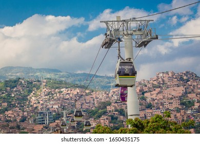 Medellin, Antioquia / Colombia Febreo 24, 2018. Metrocable Line J of the Medellin Metro or Metrocable Nuevo Occidente, is a cable car line used as a medium-capacity mass transport system