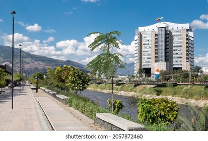 Medellin, Antioquia, Colombia. January 14, 2020: EPM smart building and medellin river seen from Parques del Rio.