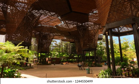 Medellin, Antioquia / Colombia - November 9 2015: Tourists walking inside the botanical garden of Medellin