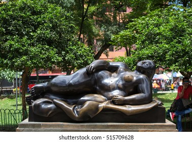 MEDELLIN, ANTOQUIA, COLOMBIA - 09 OCTUBRE 2016: Botero Plaza. Sculptures by Fernando Botero, a famous colombian artist