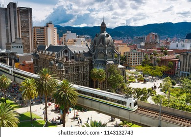 MEDELLIN - April 4, 2017: Metro in front of the Palace of Culture Rafael Uribe Uribe