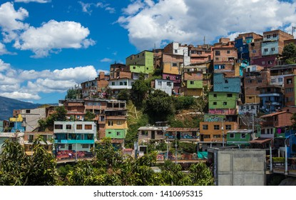 Medellin / Colombia - 04 11 2018: Colorful buildings of Comuna 13 district in Medellin, Colombia