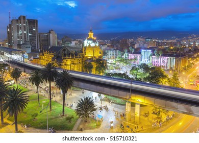 MEDELLIN, COLOMBIA - 06 OCTOBER 2016: View of downtown Medellin, Colombia