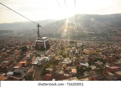MEDELLIN, COLOMBIA - APRIL 17, 2014: The Barrios and slums surrounding Medellin's cable car