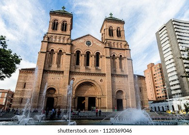 Medellin, Colombia. April 2018. A view of the cathedral Basilica Metropolitana in Medellin Colombia