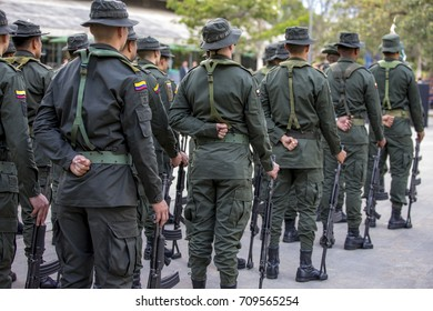 Medellin, Colombia - August 28, 2017: National Police of Colombia, in charge of maintaining control in the public order and to confront the different criminal groups of the country