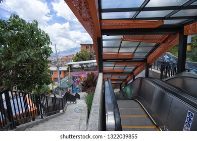 Medellin, Colombia- August 30, 2018: outdoor escalators are used as local public transportation in the famous 13 district of the city