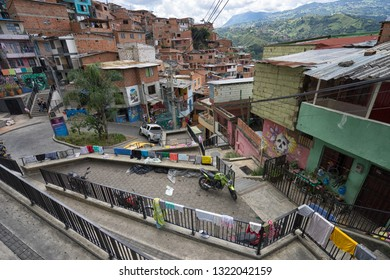 Medellin, Colombia- August 30, 2018: typical architecture in the famous 13 district of the city