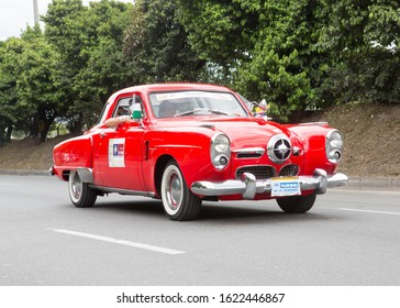 MEDELLIN COLOMBIA. AUGUST 7 2015. A 1950 Studebaker Commando taking part in the annual Flower Festival Classic Car Parade at Medellin, Colombia.